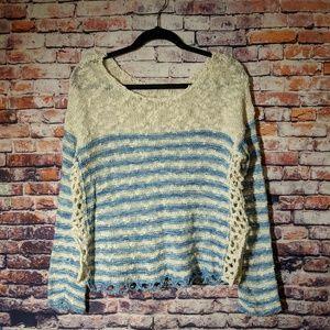 Free People cream/blue striped knit sweater XS